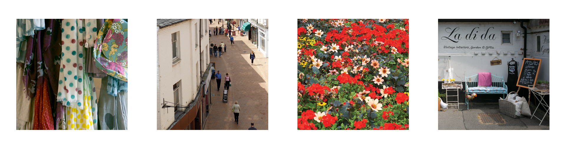 Images depicting our work including street scenes, shops and floral displays contributing to place making