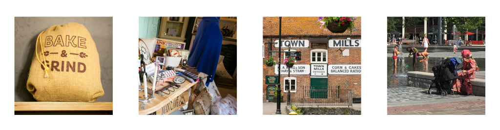 Four picture depicting town centre management and place making
